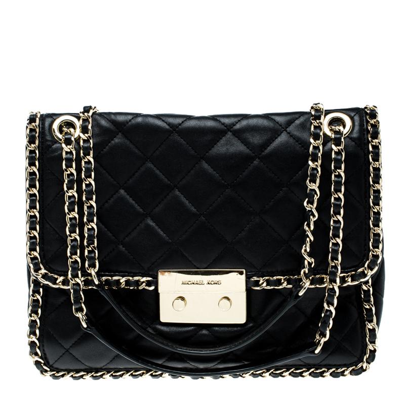 60e3fc1e88 ... Michael Michael Kors Black Quilted Leather Large Carine Flap Shoulder  Bag. nextprev. prevnext