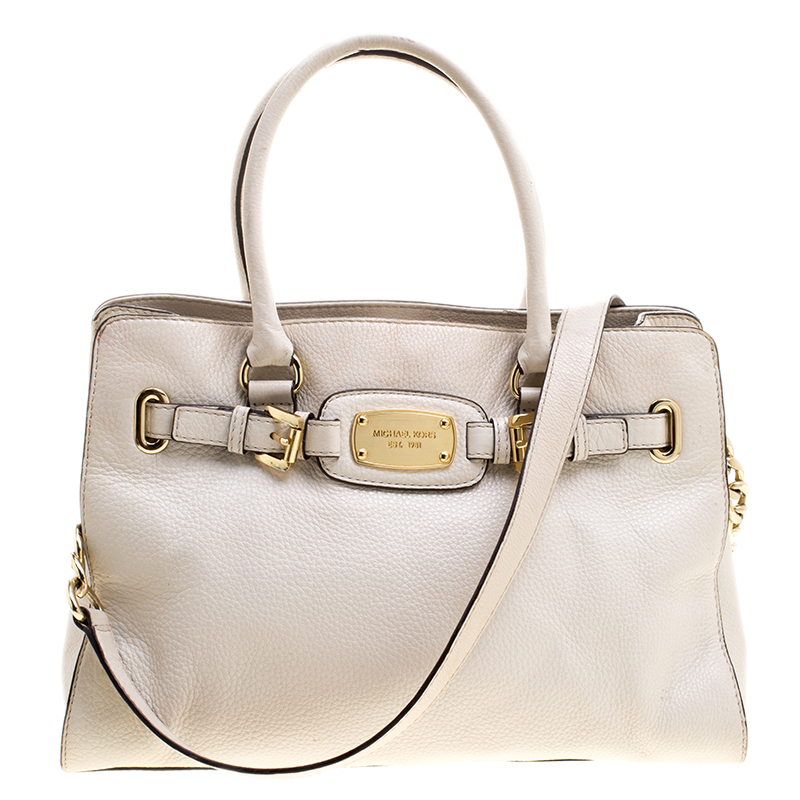 4b3ad27aae04 Buy Michael Michael Kors White Leather East West Hamilton Tote ...