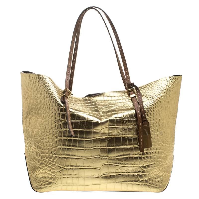 298432be834f ... Michael Michael Kors Metallic Gold Croc Embossed Leather Gia Tote.  nextprev. prevnext