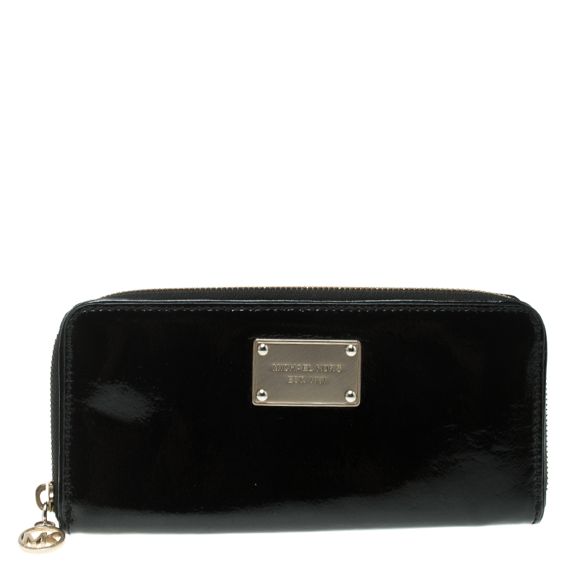 73eb079aaa3e ... Michael Michael Kors Black Patent Leather Jet Set Continental Wallet.  nextprev. prevnext