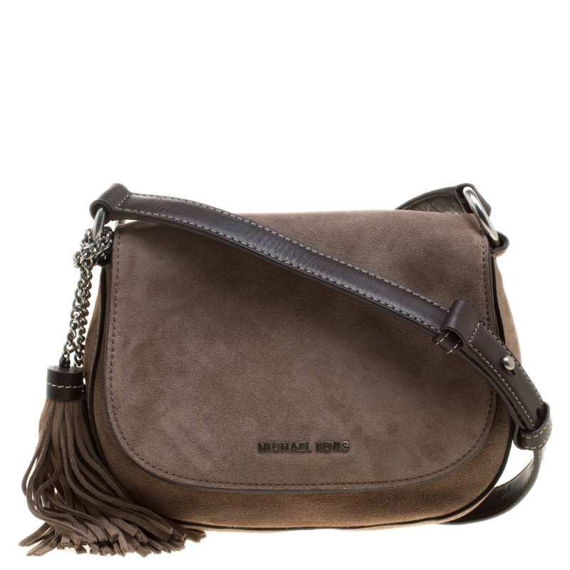 d20d538d665e ... Michael Michael Kors Dark Dune Suede Saddle Crossbody Bag. nextprev.  prevnext