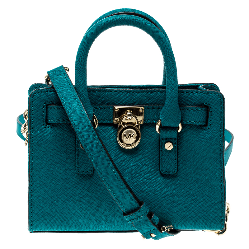 10ec0d763aad Buy Michael Michael Kors Blue Saffiano Leather Mini Hamilton ...
