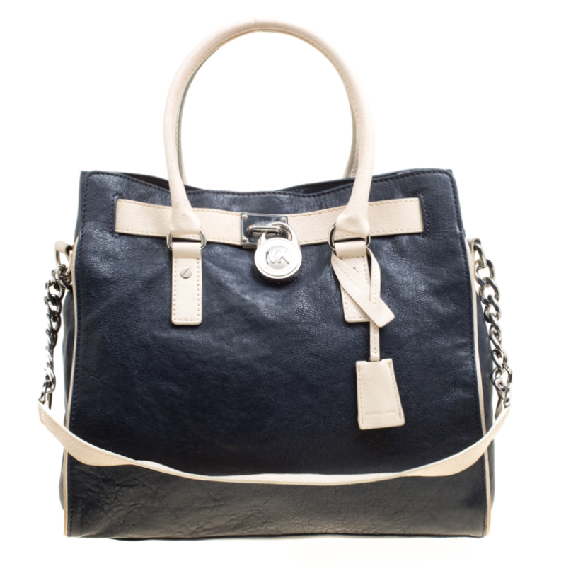 81349b717183 ... Michael Michael Kors Navy Blue Leather East West Hamilton Tote.  nextprev. prevnext