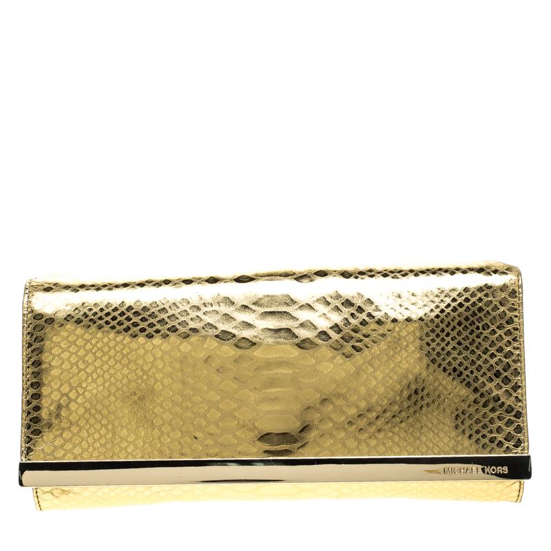 e1edd58cc088 ... Michael Michael Kors Metallic Gold Python Print Leather Tilda Clutch.  nextprev. prevnext