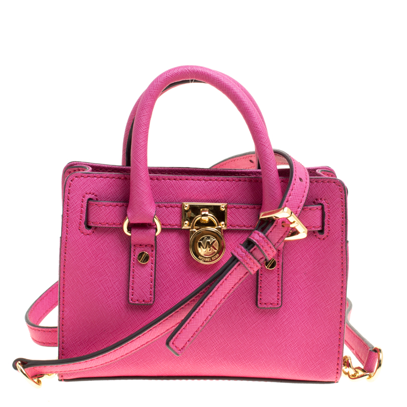 6d13628f676e Buy Michael Michael Kors Hot Pink Saffiano Leather Mini Hamilton ...