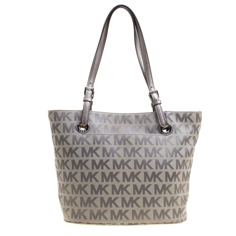 013b895447c4 ... Michael Kors Grey Monogram Canvas Jet Set Tote. nextprev. prevnext