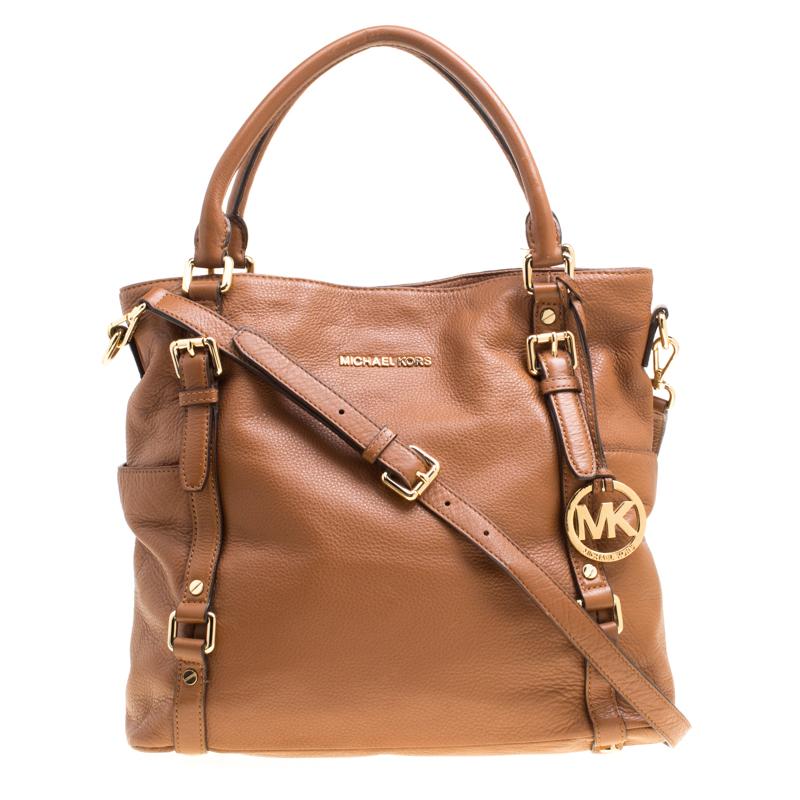 07ac36f5e Michael Michael Kors Brown Leather Buckle Strap Top Handle Bag