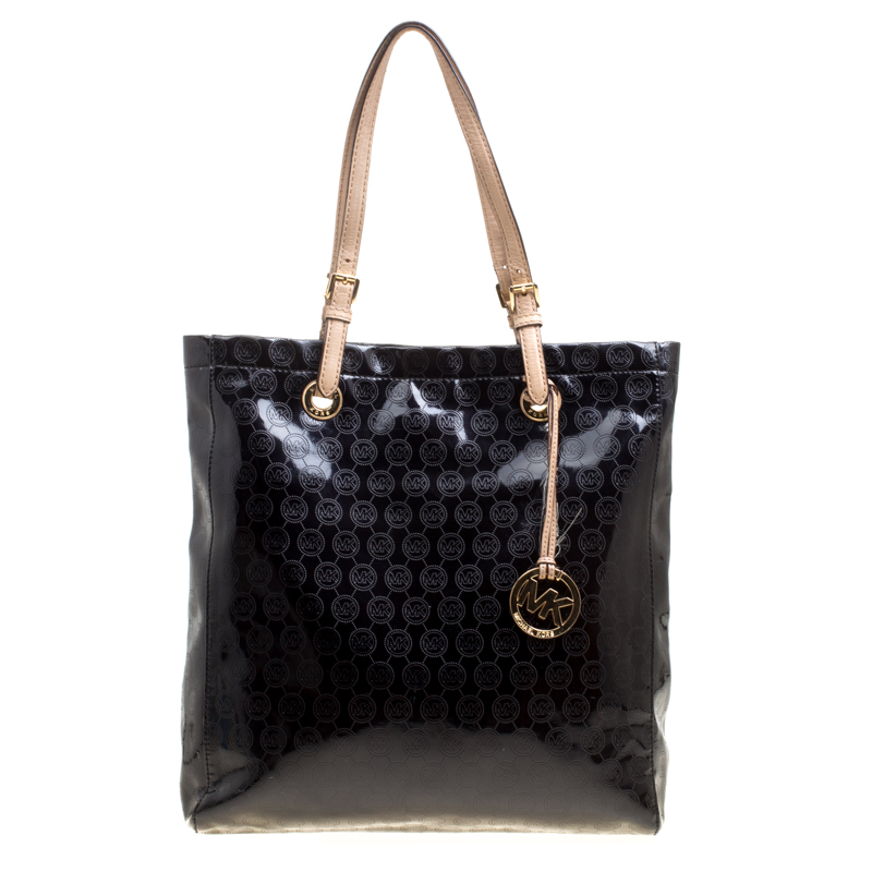 d6e0b91d1eb4 ... Michael Michael Kors Black Monogram Patent Leather Jet Set North South  Tote. nextprev. prevnext