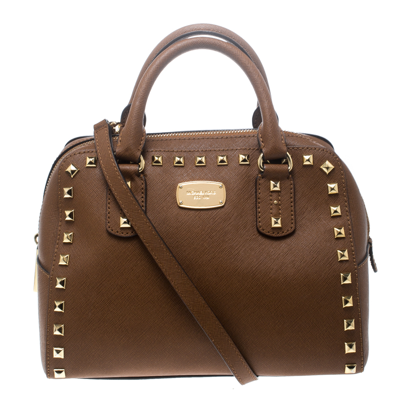 e22af5f17405 ... Michael Michael Kors Brown Leather Small Studded Sandrine Top Handle Bag.  nextprev. prevnext