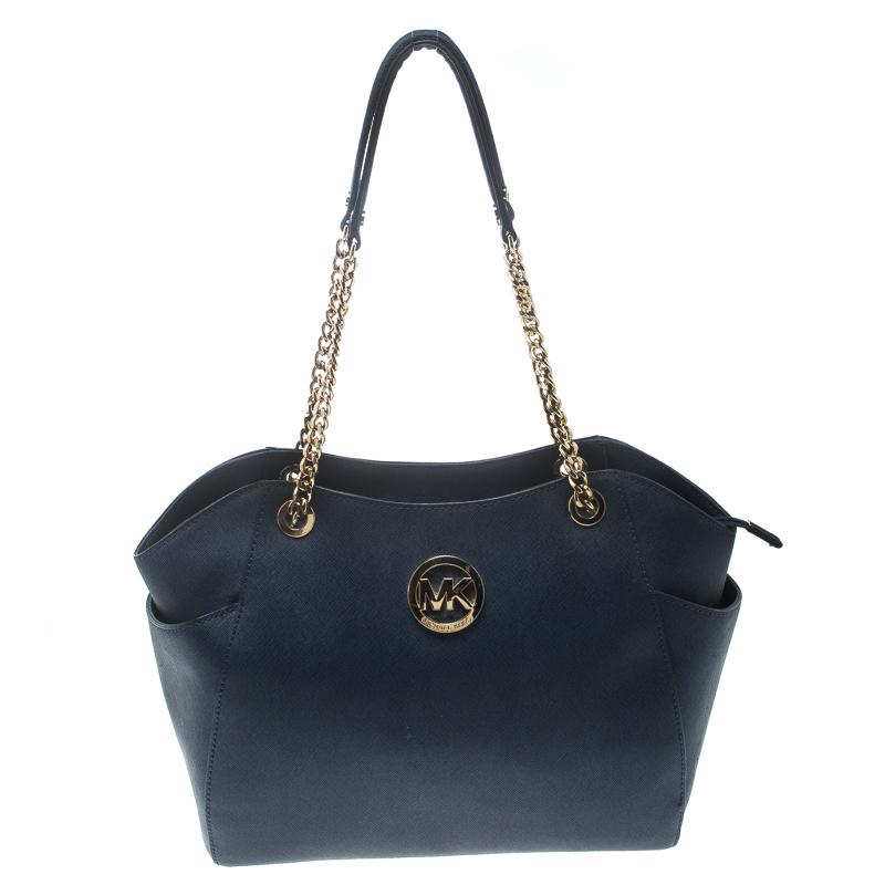 702d4fa1a4 ... Michael Michael Kors Blue Saffiano Leather Jet Set Travel Shoulder Bag.  nextprev. prevnext