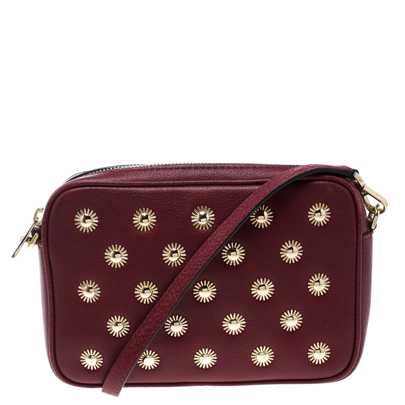 dd97fb159325 Michael Kors Red Leather Studded Crossbody Bag 168081 At