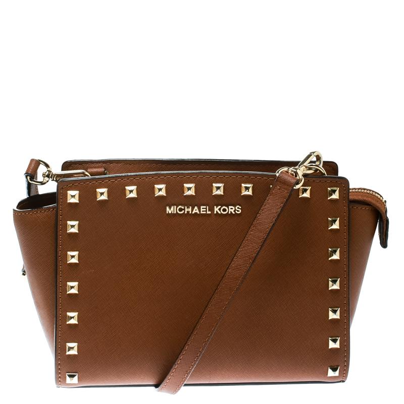 Michael Kors Brown Leather Medium Studded Selma Crossbody Bag