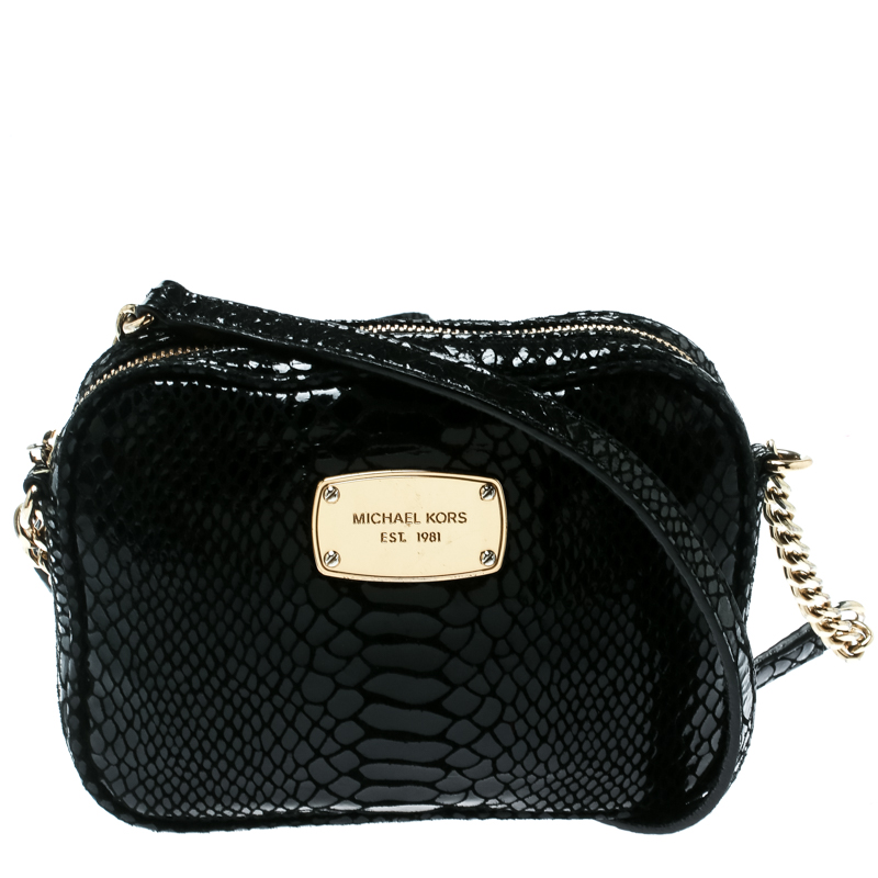 8c5e68b464fa ... Michael Michael Kors Black Python Embossed Leather Crossbody Bag.  nextprev. prevnext
