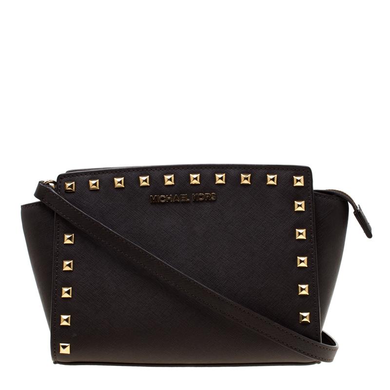 70c6e57780b933 ... Michael Michael Kors Dark Brown Leather Medium Studded Selma Crossbody  Bag. nextprev. prevnext