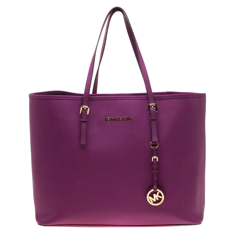0c087bcc4cea1b Michael Kors Purple Saffiano Leather Jet Set Travel Tote