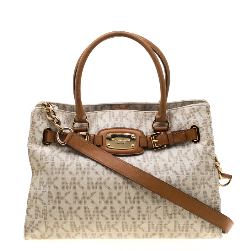 2b0dce051621 Buy Michael Michael Kors Cream/Brown Coated Canvas and Leather East ...