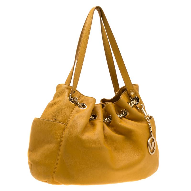 Michael Kors Yellow Leather Drawstring Shoulder Bag