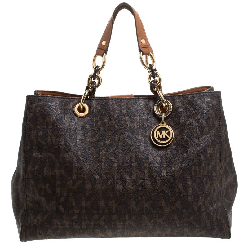 MICHAEL Michael Kors Brown Signature Coated Canvas Large Cynthia Tote