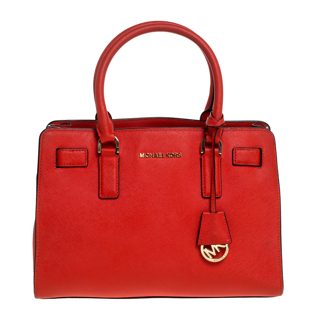 Pre-owned Michael Michael Kors Red Leather Medium Hamilton Tote