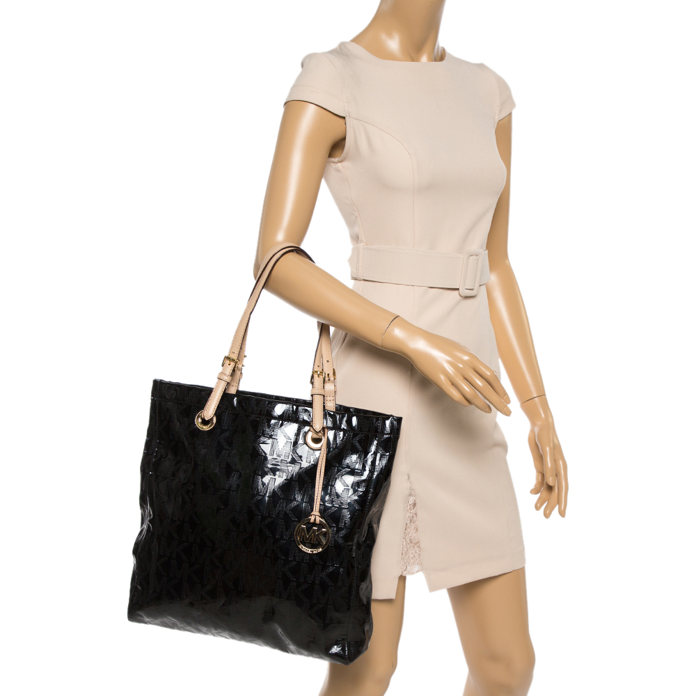 MICHAEL Michael Kors Black Signature Mirror PVC and Leather North South Tote  - buy with discount