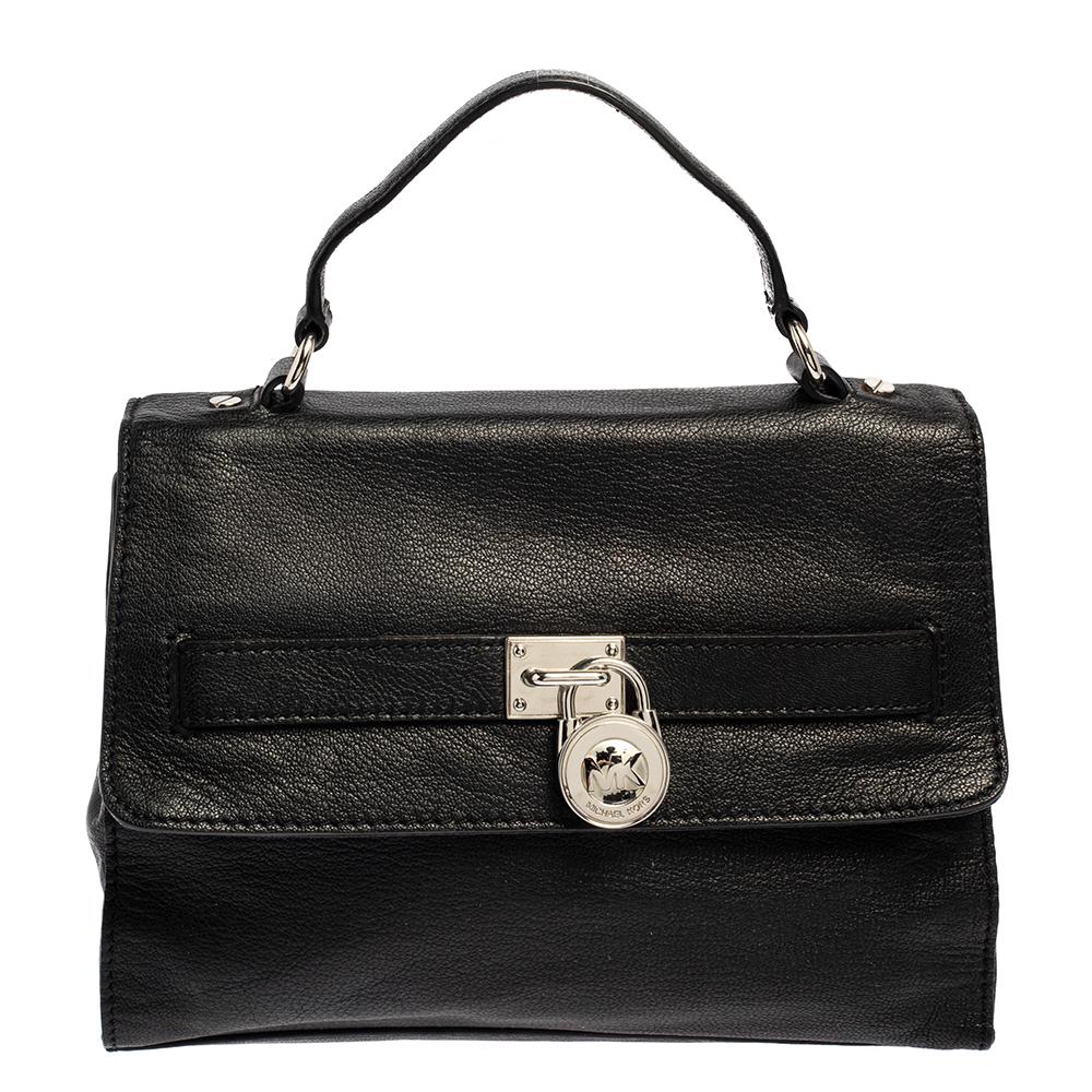 Pre-owned Michael Michael Kors Black Pebbled Leather Padlock Flap Top Handle Bag