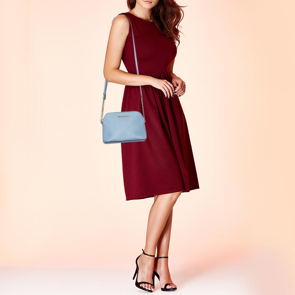 MICHAEL Michael Kors Powder Blue Saffiano Leather Cindy Crossbody Bag