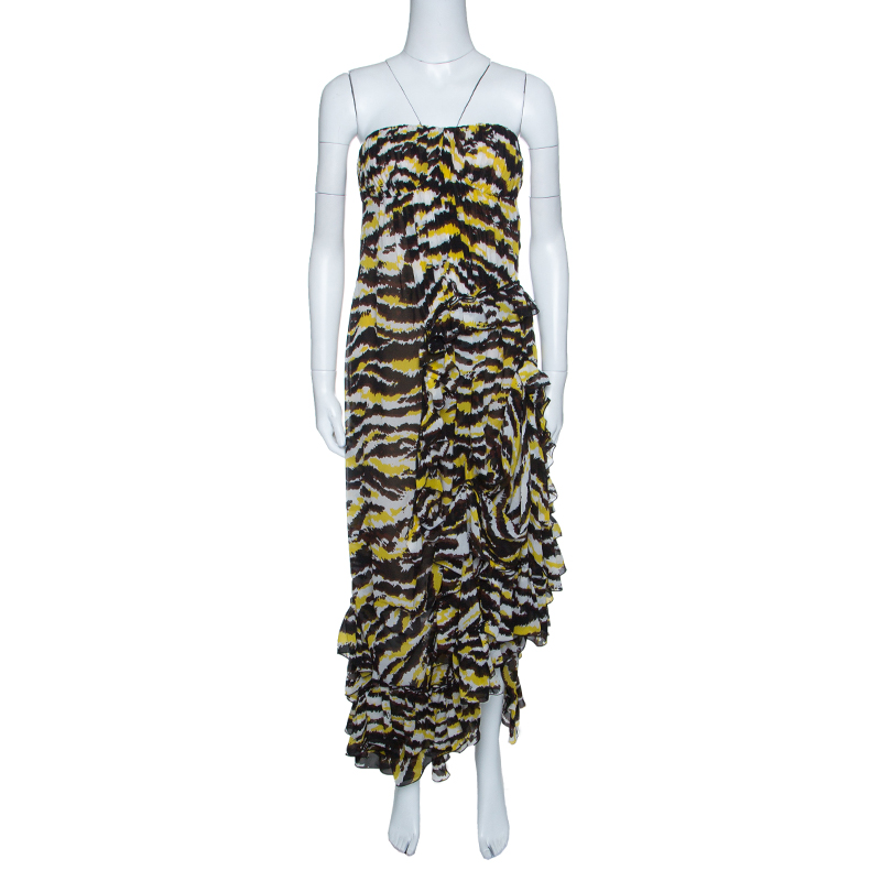 d6bb8d5315dc Buy Missoni Multicolor Tiger Print Ruffled Silk Strapless Tansy ...