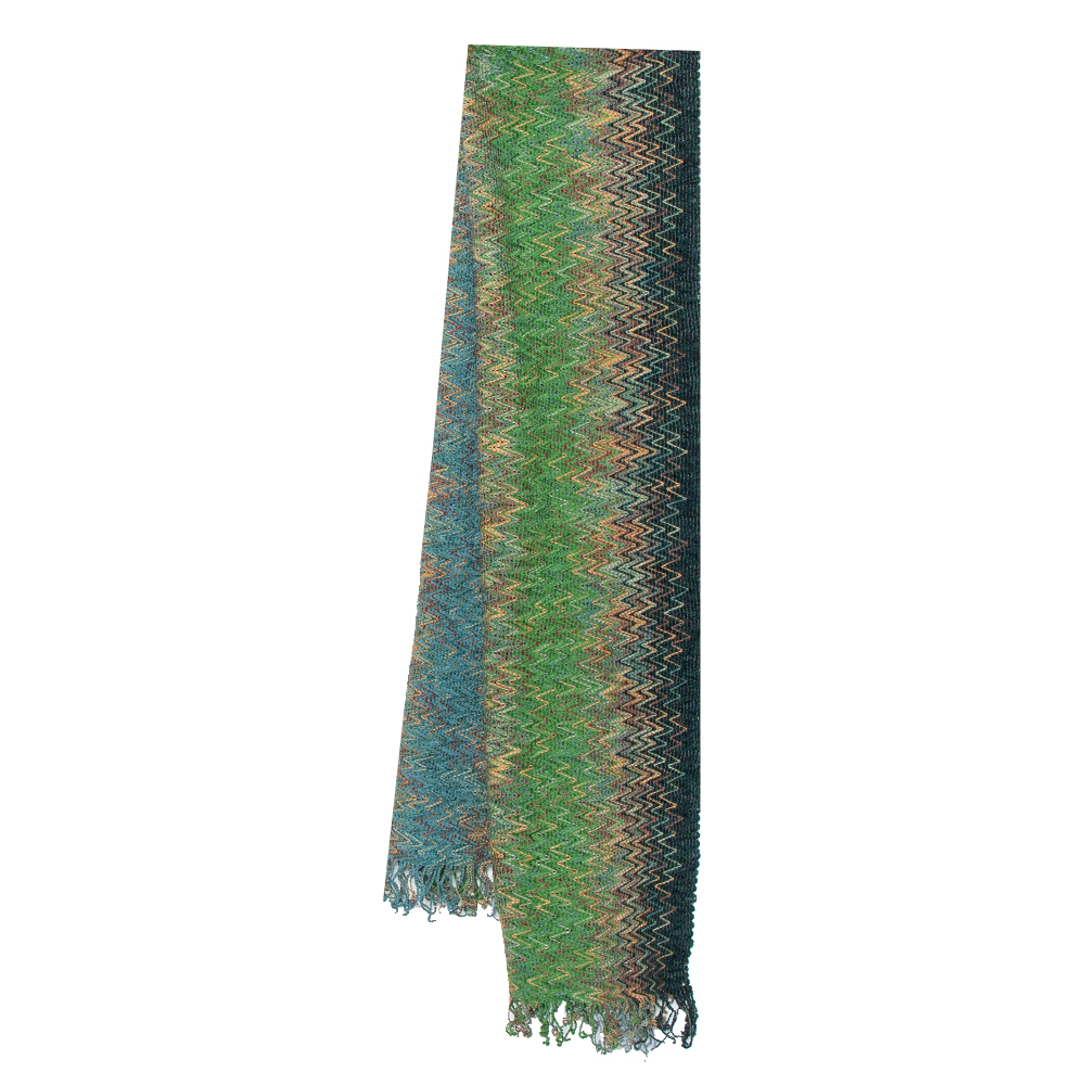 Pre-owned Missoni Sciarpe Blue Chevron Patterned Fringed Wool Stole In Green