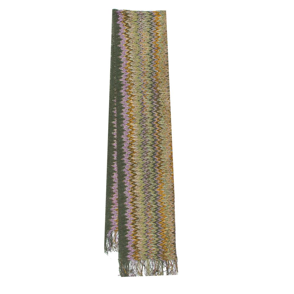 Pre-owned Missoni Sciarpe Green Chevron Patterned Wool Stole
