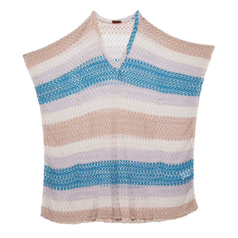 a2b8943250 Buy Missoni Mare Multicolor Perforated Knit Kaftan Style Beach Cover ...