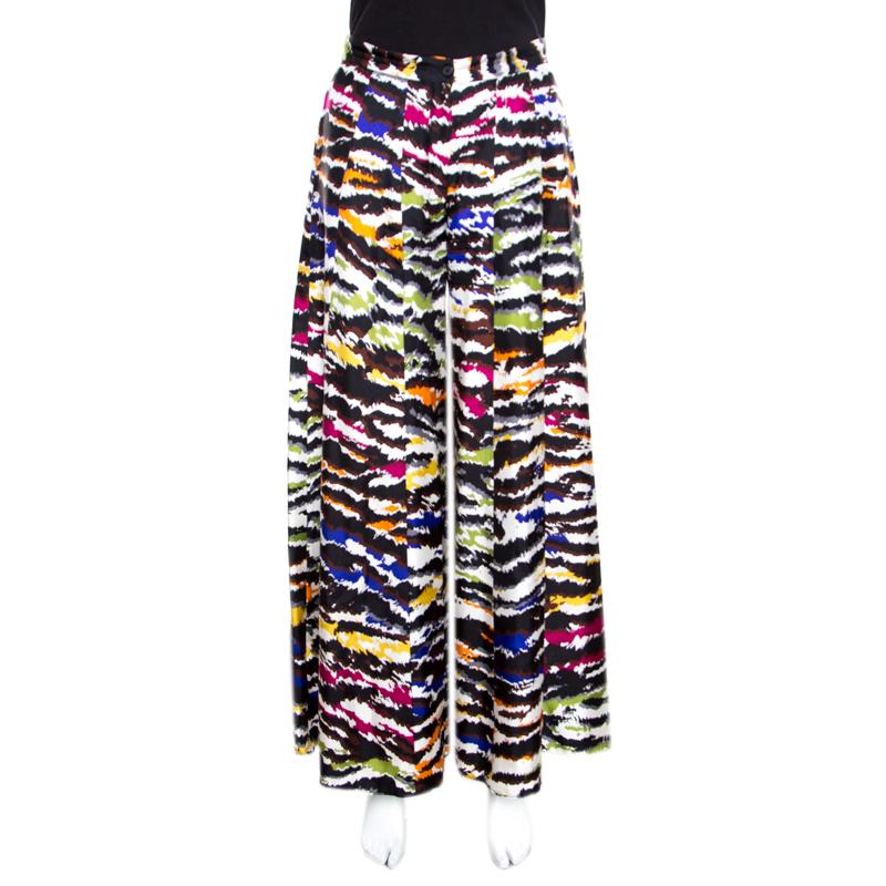 Купить со скидкой Missoni Multicolor Abstract Printed Silk Wide Leg Pants M