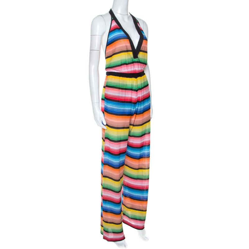 Missoni Multicolore Rayé En Tricot Halterneck Coverup Combinaison S
