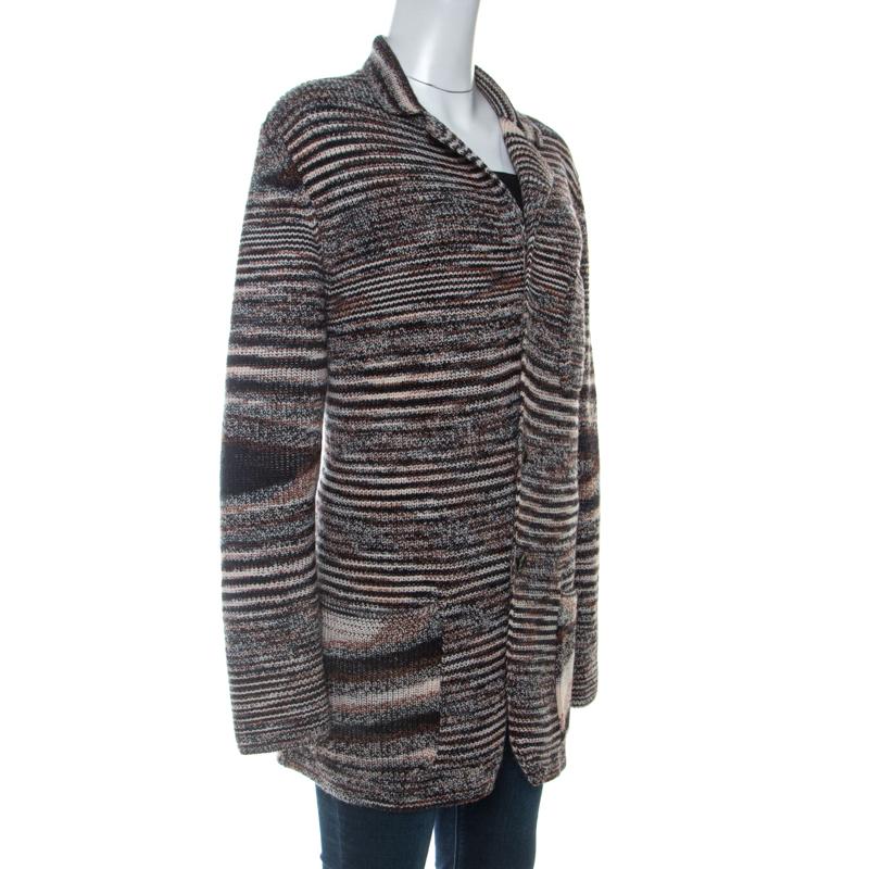 Missoni Brown Knit Cardigan en Laine XL