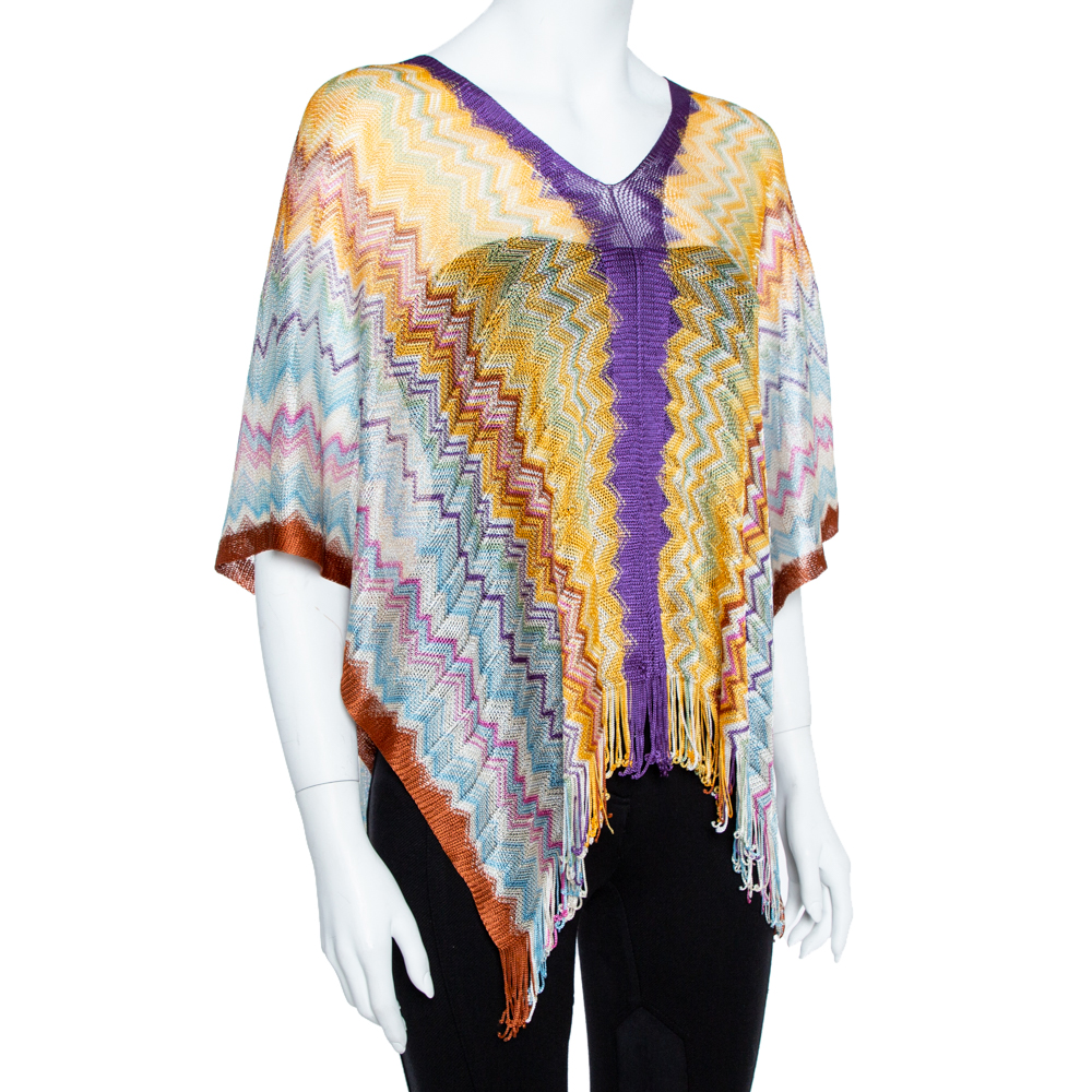 Missoni Multicolor Chevron Knit Fringed Poncho ( One Size )