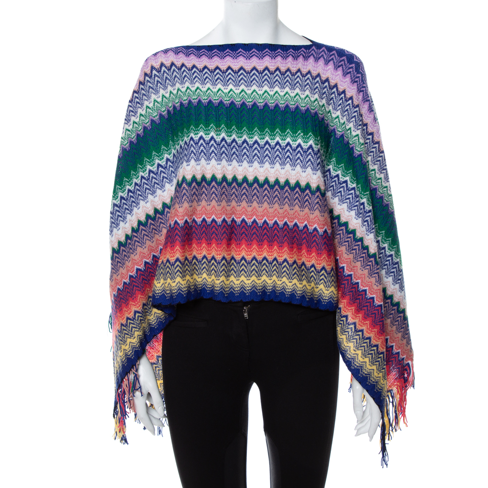 Pre-owned Missoni Multicolor Chevron Patterned Knit Fringe Detail Poncho (one Size)