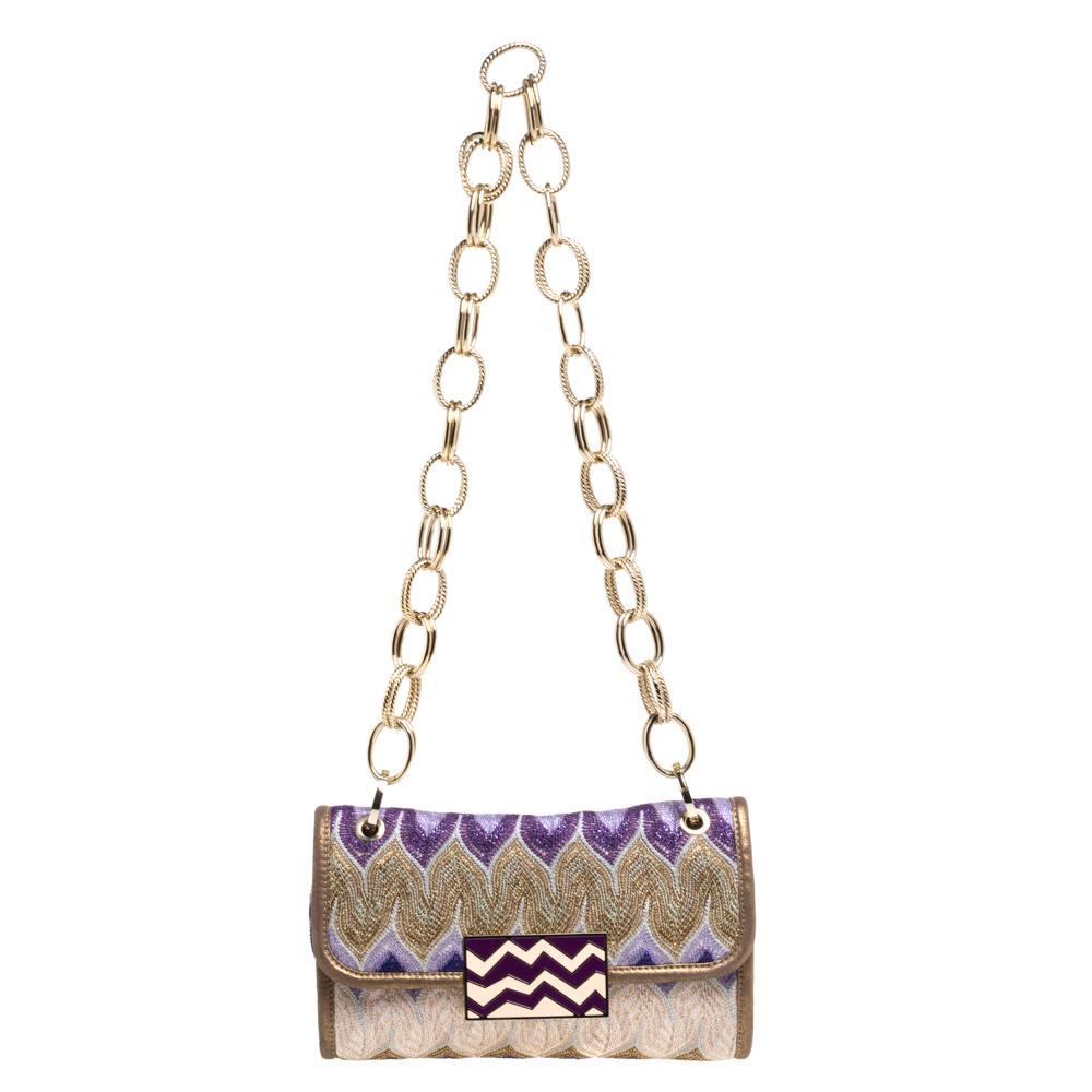 Pre-owned Missoni Multicolor Shimmering Weave Fabric Flap Shoulder Bag