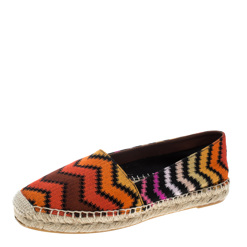 Missoni Multicolor Patterned Knit Fabric Flat Espadrilles Size 36