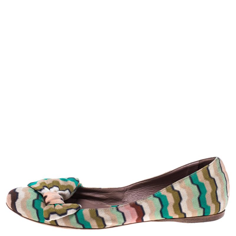 Missoni Multicolore Tissu Tricoté Arc Ballerines Taille 37