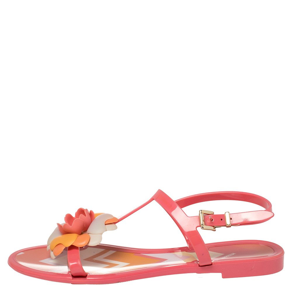 Missoni Pink Rubber Rose Ankle Strap Flat Sandals Size 36  - buy with discount