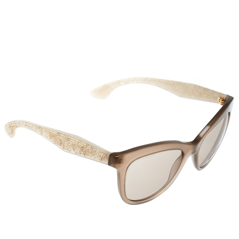 e310950d2fd7 Buy Miu Miu Brown Marrone SMU10P Cat Eye Sunglasses 179592 at best ...