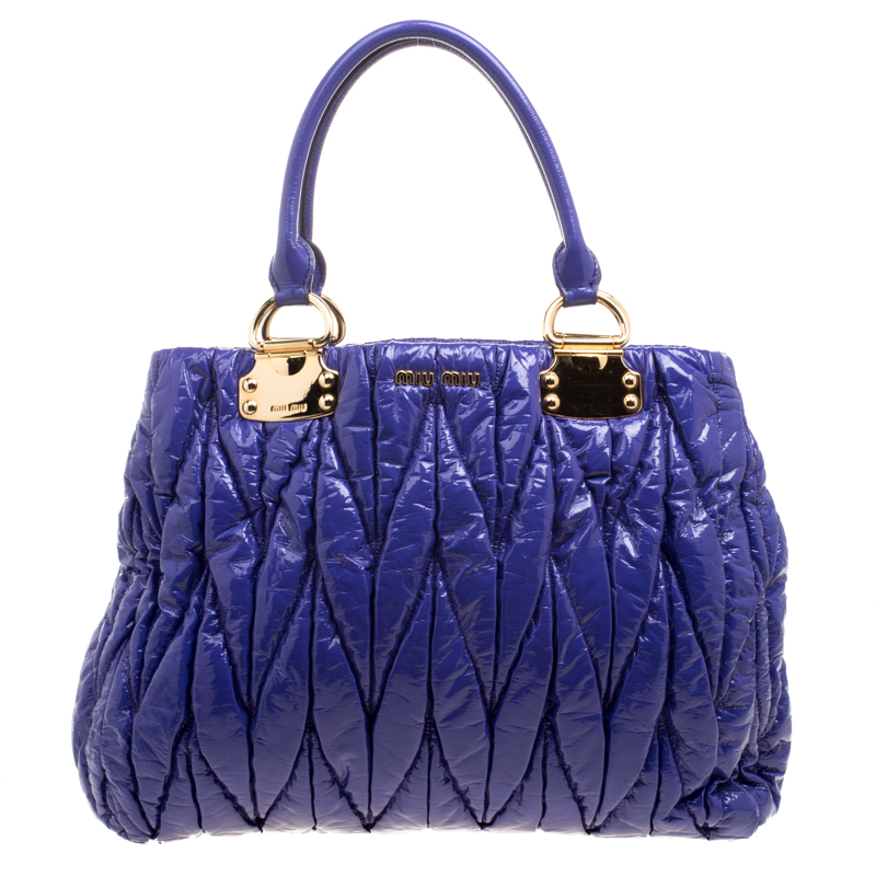 01767404542e ... Miu Miu Lilac Matelasse Patent Leather Shopper Tote. nextprev. prevnext