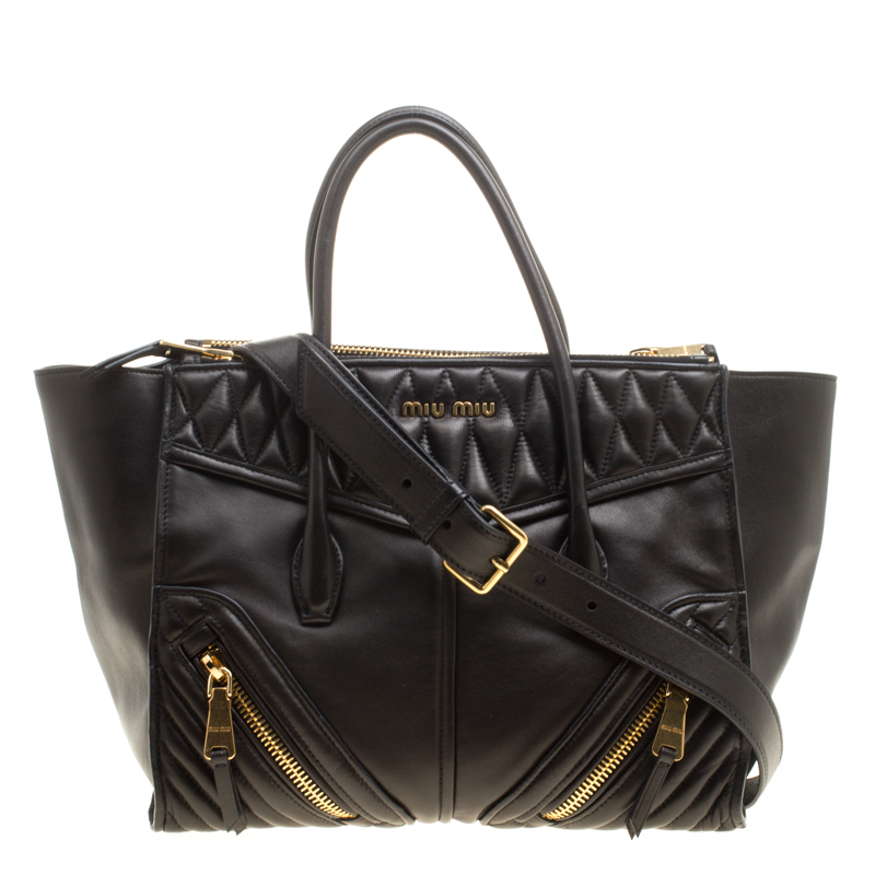 0a2f54ae3faa Buy Miu Miu Black Matelasse Leather Biker Tote 143472 at best price ...