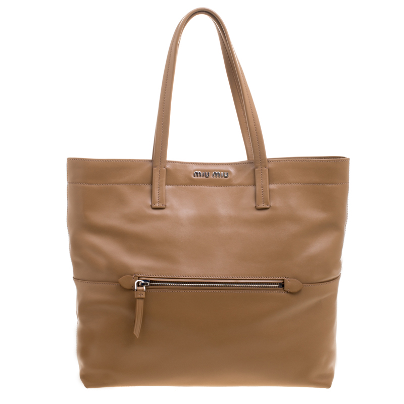 6ca077dbc5e2 Buy Miu Miu Brown Vitello Soft Leather Tote 145473 at best price