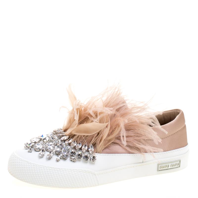 d2c529582eab ... Miu Miu Blush Pink Crystal Embellished Satin With Marabou Feathers Slip  On Sneakers Size 38. nextprev. prevnext