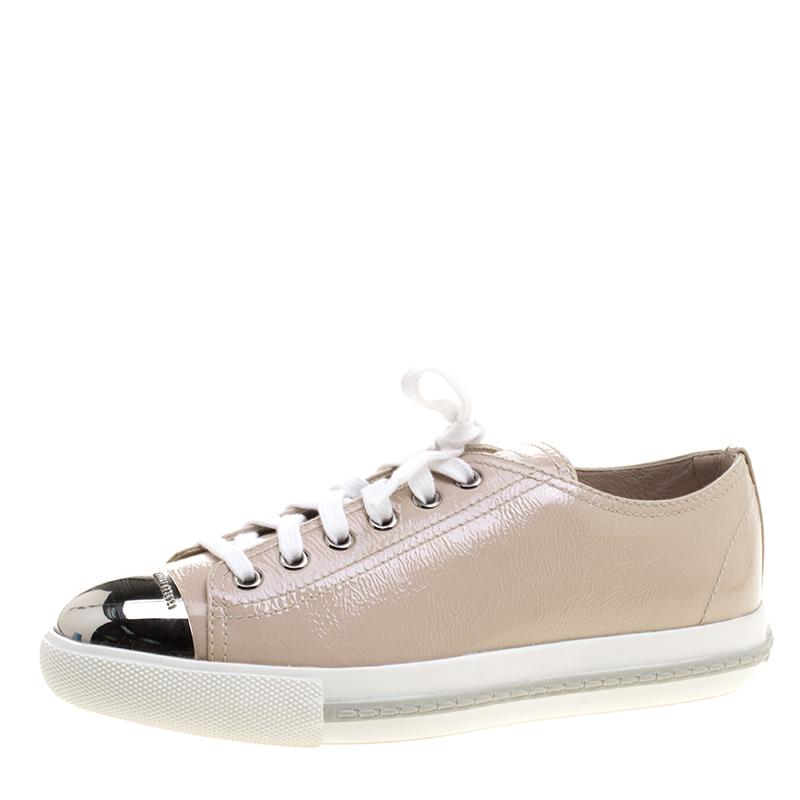0335cc7ae1b Buy Miu Miu Blush Pink Patent Leather Cap Toe Sneakers Size 37 ...