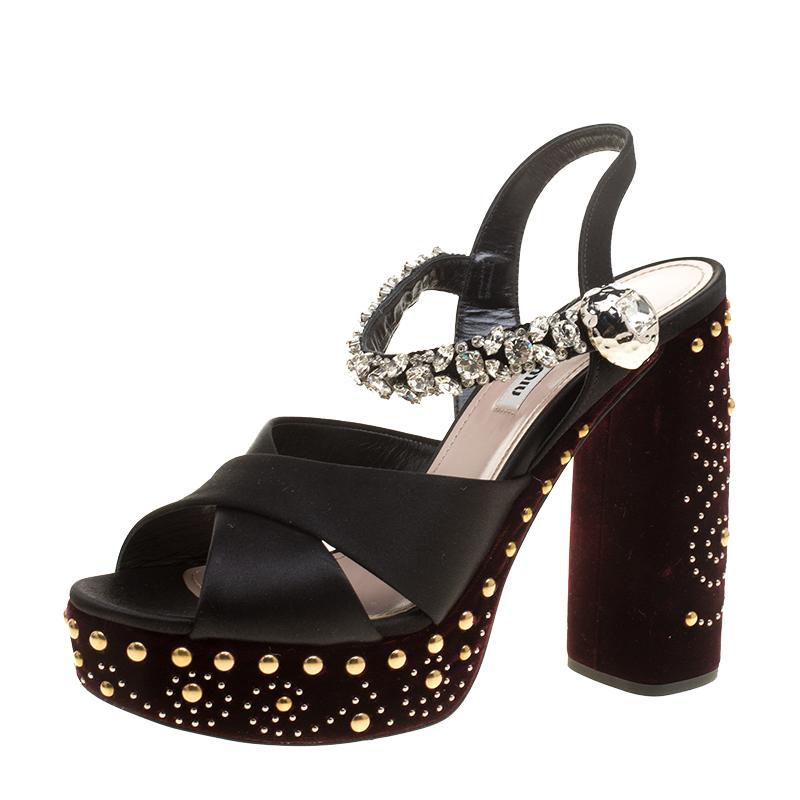 2a6fa8e74f9 ... Miu Miu Black Crystal Embellished Satin and Studded Velvet Platform  Sandals Size 38.5. nextprev. prevnext