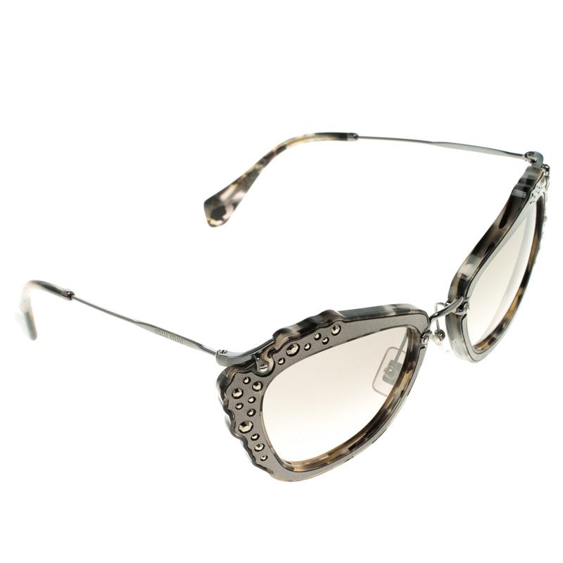 Miu Miu Black Glitter SMU04Q Cat Eye Sunglasses