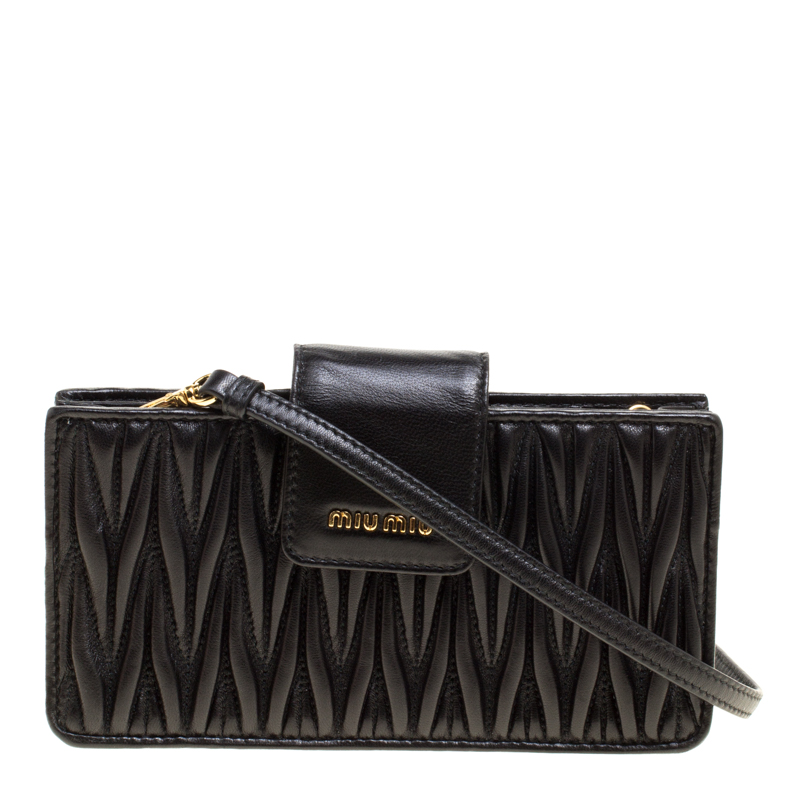 03802d53a260 Buy Miu Miu Black Matelasse Leather Phone Bag 148093 at best price