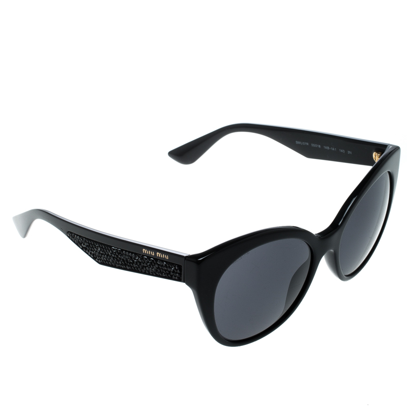 a24491f4124f Buy Miu Miu Black SMU07R Cat Eye Sunglasses 151919 at best price