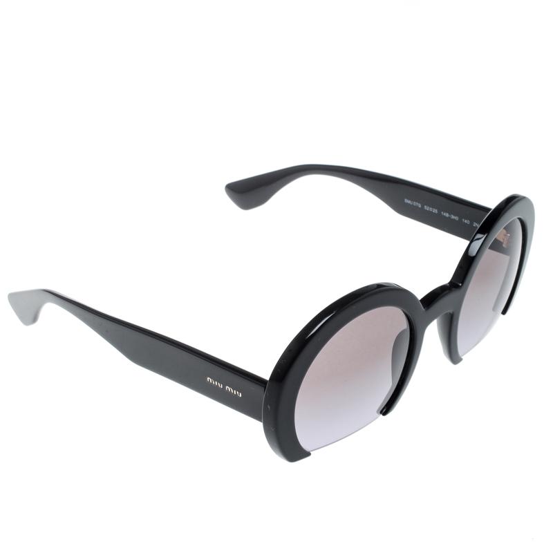 Miu Miu Black SMU07G Round Cut Out Sunglasses